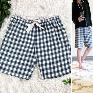 Kensie Checked Plaid Flannel PJ Lounge Long Shorts